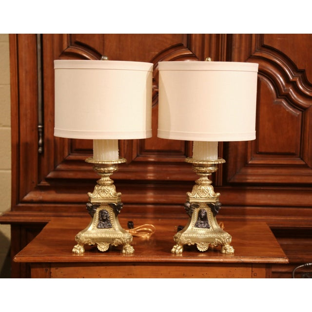 19th Century French Patinated Bronze Candlesticks Made Table Lamps - a Pair For Sale - Image 4 of 9