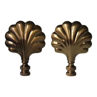 Brass Shell Lamp Finials - A Pair
