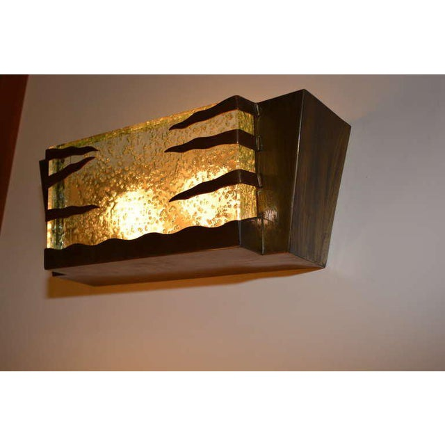 Mid Century Modern Italian Brass Frame Wall Sconce For Sale - Image 4 of 4