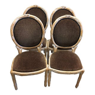 Boho Chic Faux Bois Brown Velvet Side Chairs - Set of 4 For Sale