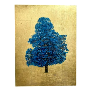 Cobalt Blue Tree on Gilded Background For Sale