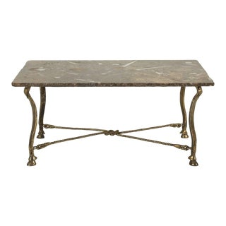 Vintage French Coffee or Cocktail Table With Fossilized Stone Top