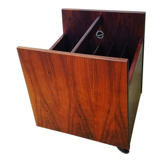 Rolf Hesland for Bruksbo Rosewood Magazine or Lp Holder on Casters For Sale