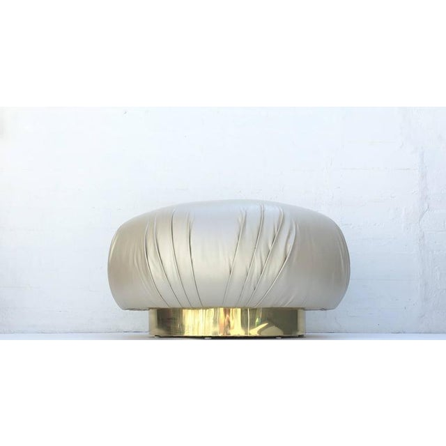 Brass Brass and Leather Ottoman by Steve Chase For Sale - Image 7 of 8