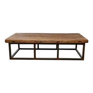 Extra Large Coffee Table of 19th Century Weathered Elm on Iron Base For Sale