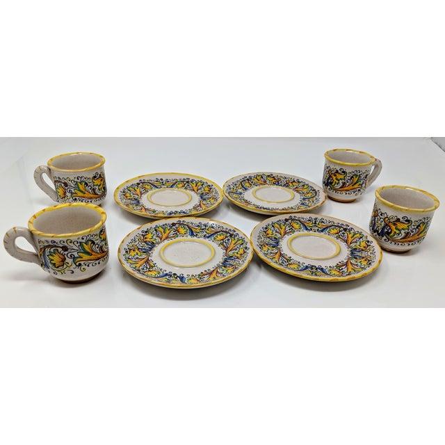 Boho Chic Demitasse Cup & Saucer Set - Service for 4 For Sale - Image 3 of 8