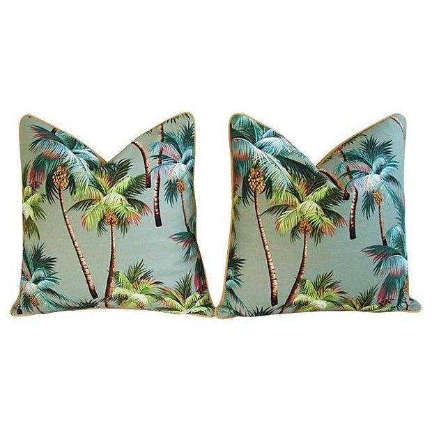 Custom Oasis Palm Tree Barkcloth Pillows- a Pair - Image 6 of 7