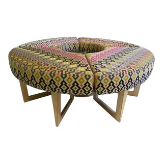 Boho Chic Round Mid-Century Upholstered Bench/Table For Sale