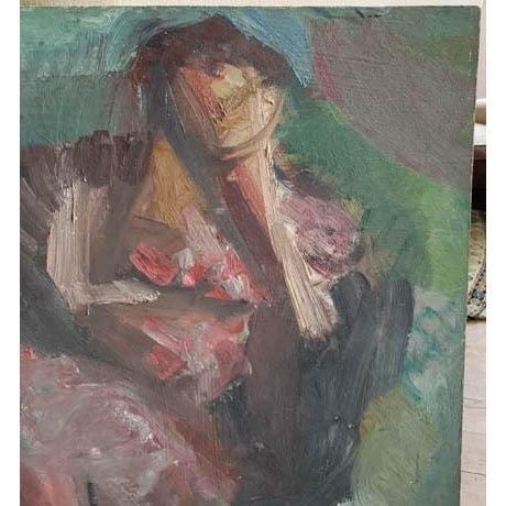 1950s Mid Century 1957 Painting - Two Paintings in One - Reclining Nude, Man's Portrait For Sale - Image 5 of 8