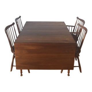 1953 Arts and Crafts Stickley Dining Table and Chairs - 5 Pieces For Sale