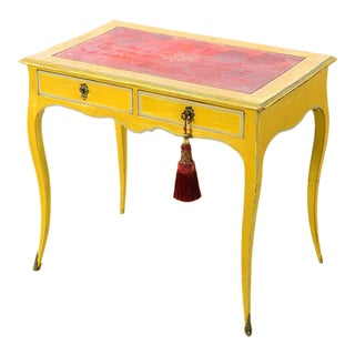 19th century Venetian Beautiful Painted Petite Ladies Desk -Leather top For Sale