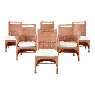 Set of Six McGuire Coral Wicker Rattan Dining Chairs For Sale