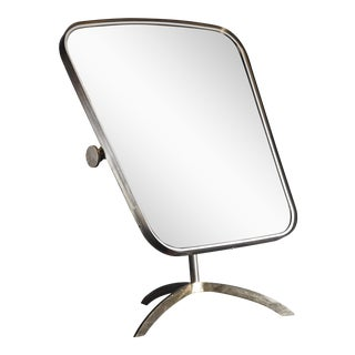Brass Tilting Console Mirror with White Inside Rim, Germany, 1950s For Sale