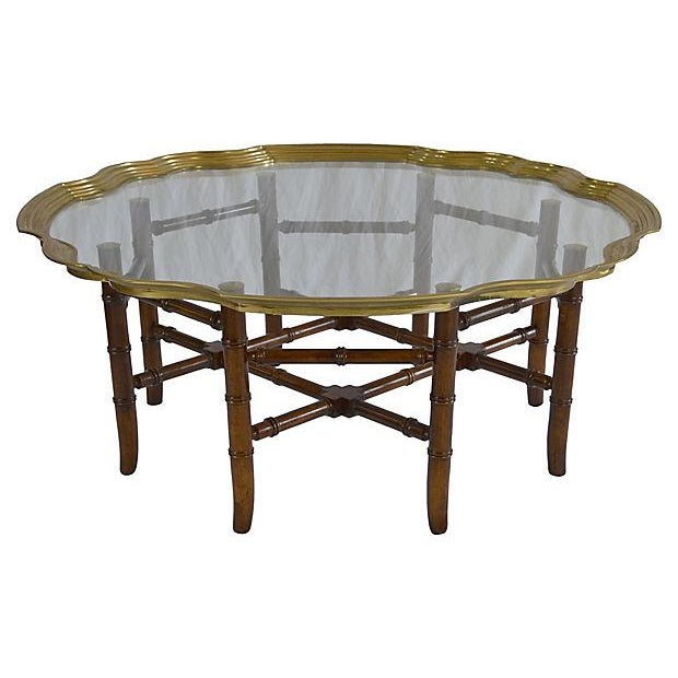 Brass Bamboo-Style Tray Coffee Table - Image 2 of 5