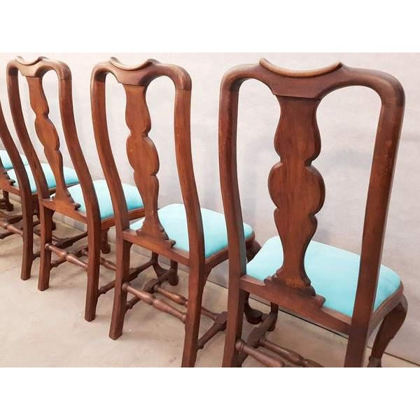 Textile French Antique Chippendale Queen Anne Style Walnut Turquoise Blue Reupholstered Dining Chairs - Set of 6 For Sale - Image 7 of 13
