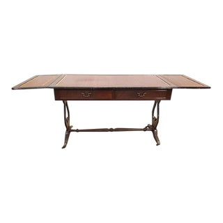 Vintage French Dropleaf Hall Coffee Table Two Drawers Lyre Base Ends For Sale