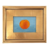 Image of Contemporary Orange on Blue Still Life Acrylic Painting, Framed For Sale