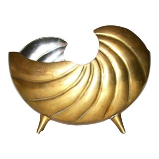 Vintage Brass Footed Nautilus Shell Planter For Sale