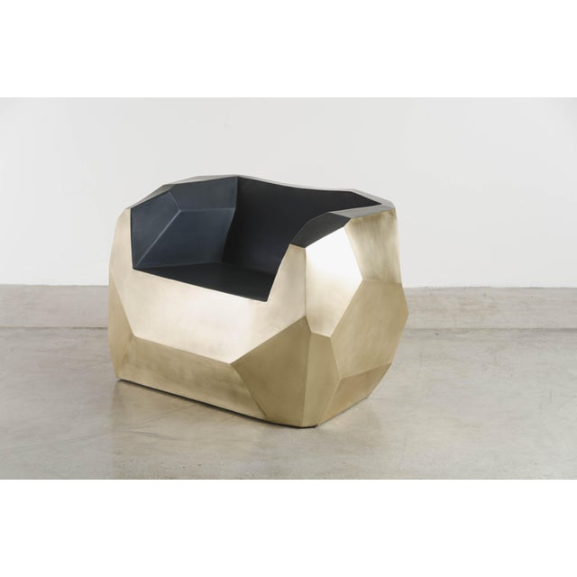 Hand Repousse Facet Lounge Chair in Brass W/ Black Lacquer by Robert Kuo, Limited Edition For Sale In Los Angeles - Image 6 of 9