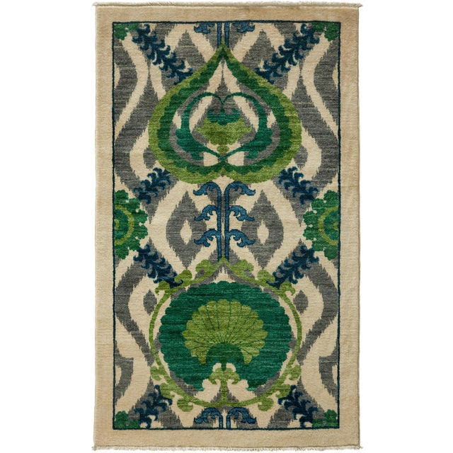 """New Suzani Hand Knotted Area Rug - 3'2"""" x 5'3"""" - Image 1 of 3"""