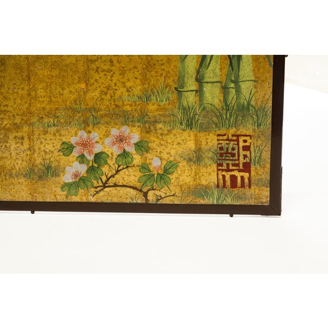 """Lawrence & Scott Lawrence & Scott Chinese Inspired """"Bamboo Scene With Poem"""" Hand-Painted Gold Foil 2-Panel Screen For Sale - Image 4 of 13"""