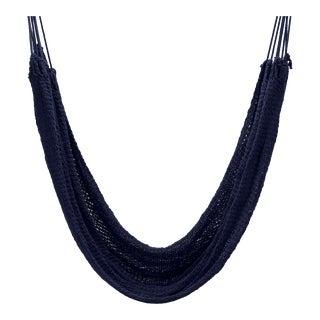 Handmade Navy Blue Cotton Hammock For Sale
