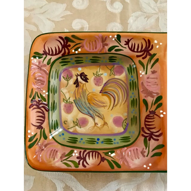 Abstract Modern Rooster Ceramic Painted Divided Dish/Tray For Sale - Image 3 of 5