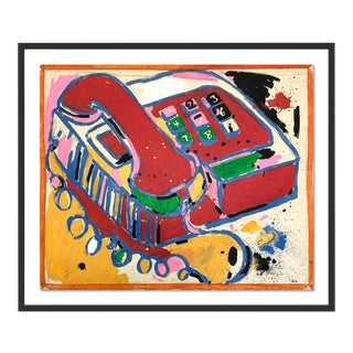 Telephone by Jelly Chen in Black Framed Paper - Small Art Print For Sale