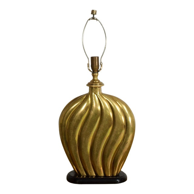 Sophisticated Modern Hollywood Regency Swirled Bronze on Black Table Lamp 1940s For Sale