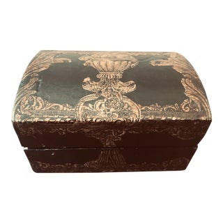 Vintage Handpainted Baroque Style Trinket Box For Sale