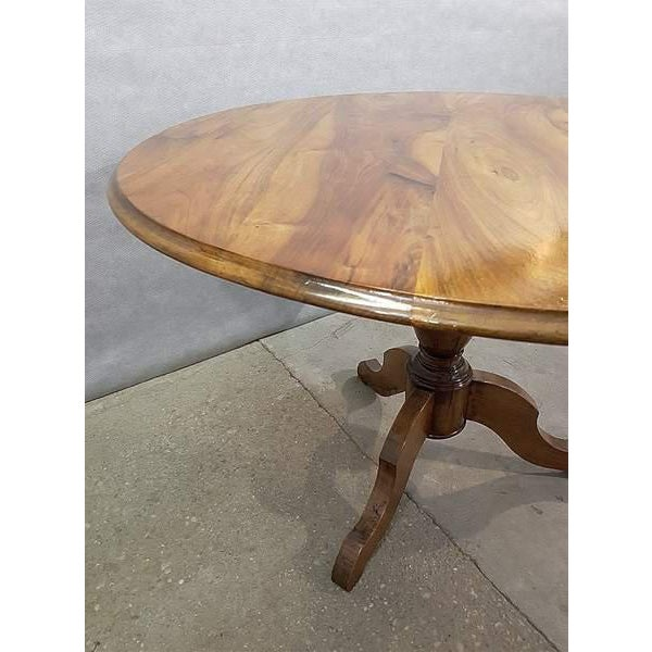 Walnut Antique French Walnut Round Tilt Top Occasional Side Breakfast Table For Sale - Image 7 of 13