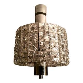 Vintage 1960s Crystal and Nickel-Plated Metal Chandelier, Italy For Sale