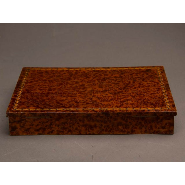 Late 19th Century An unusual rectangular table top storage box completely sheathed in extraordinary burl walnut from England c. 1890 For Sale - Image 5 of 7