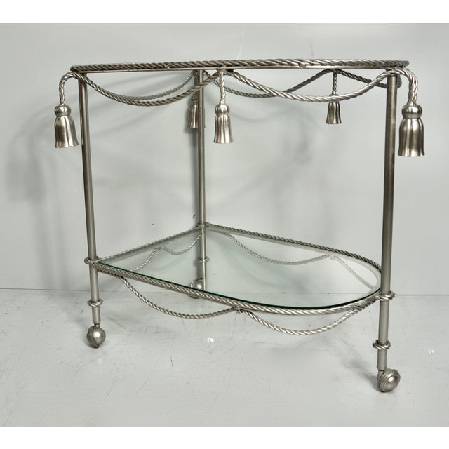 Mid 20th Century Mid 20th Century Hand Painted Metallic Rope & Tassel Bar Cart For Sale - Image 5 of 10