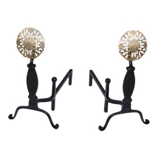 Virginia Metal-Crafters Iron with Brass Medallions Andirons - a Pair For Sale
