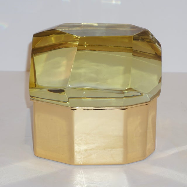 Toso Toso Italian Modern Diamond-Shaped Gold Murano Glass and Brass Jewel-Like Box For Sale - Image 4 of 10