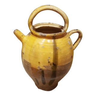 French Ceramic Pot With Handle and Spout For Sale