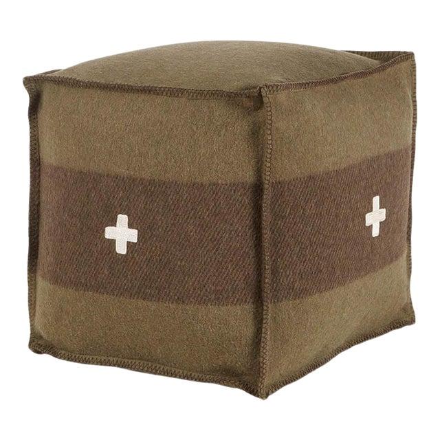 "Swiss Army Pouf, 18""X18""X18"", Green/Brown For Sale"