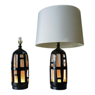 Pair of Ceramic Cut Out Lamps With Dual Illumination, Circa 1970 For Sale
