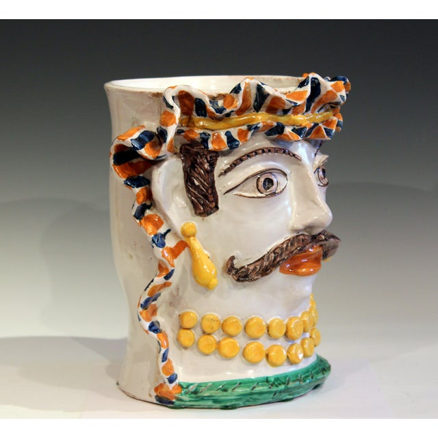 Large vintage Sicilian pottery head vase, circa late 20th century. Hand turned and decorated. Depicting a Moorish King in...