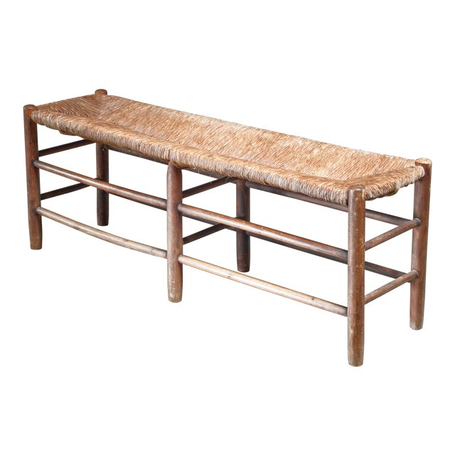 Charlotte Perriand Wood and Rush Bench, France, 1960s For Sale