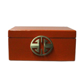 Oriental Round Hardware Orange Rectangular Container Box Medium For Sale