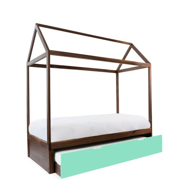 Contemporary Domo Zen Full Trundle Canopy Bed in Walnut With Mint Finish For Sale - Image 3 of 3