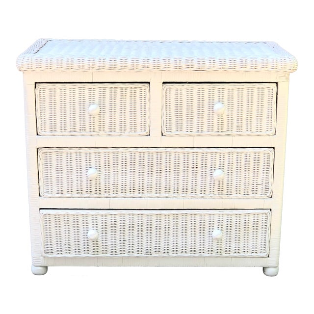 White Wicker Five Drawer Dresser in the Style of Henry Link For Sale