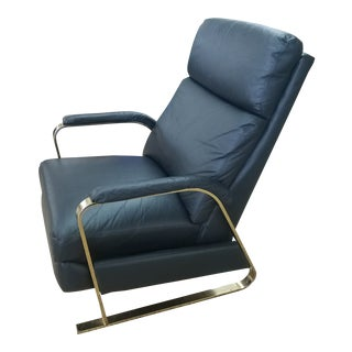 1970's Vintage Milo Baughman Style Black Leather and Brass For Sale