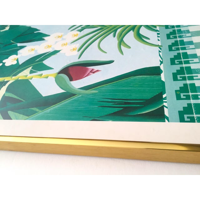 """Vintage 1980 """" Gary Shaw Key West """" Tropical Botanical Lithograph Print Framed Exhibition Poster For Sale - Image 10 of 13"""