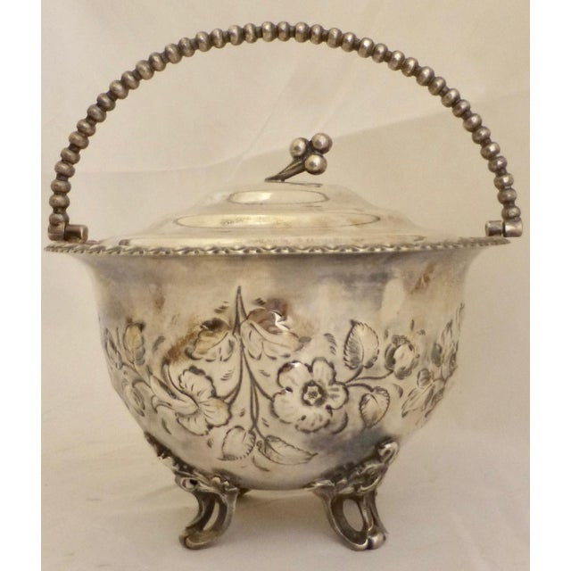Art Deco Art Nouveau Silver Plated Covered Bowl w. Floral Decoration For Sale - Image 3 of 13