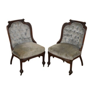 Antique American Victorian Walnut Claw Foot Aesthetic Carved Slipper Chairs For Sale