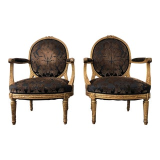 Louis XVI Style Armchairs in Gilt Gold and Velvet Damask Fabric For Sale