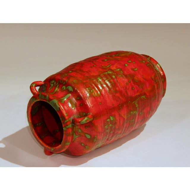 Awaji Pottery Atomic Chrome Red Art Deco Hot Lava Japanese Vase For Sale - Image 4 of 11